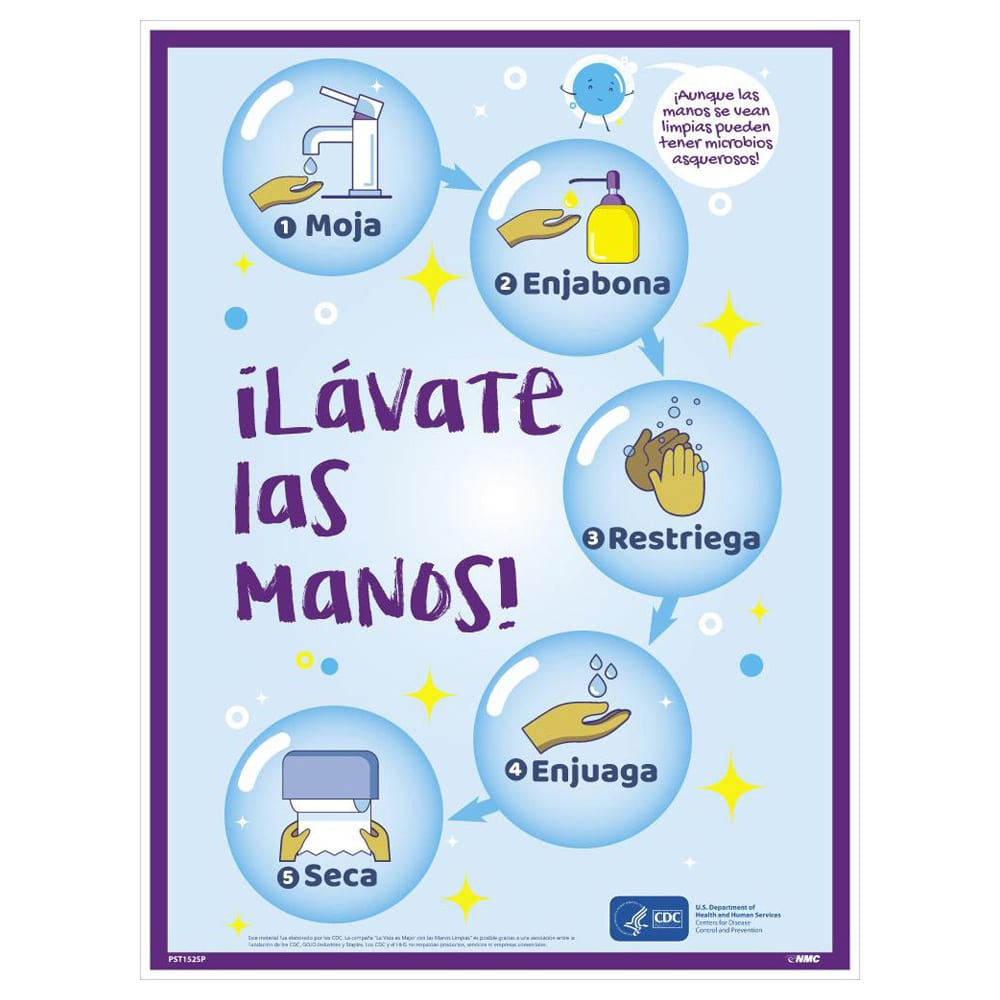 WASH YOUR HANDS POSTER, SPANISH