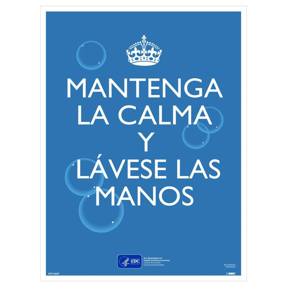 KEEP CALM AND WASH YOUR HANDS POSTER, SPANISH