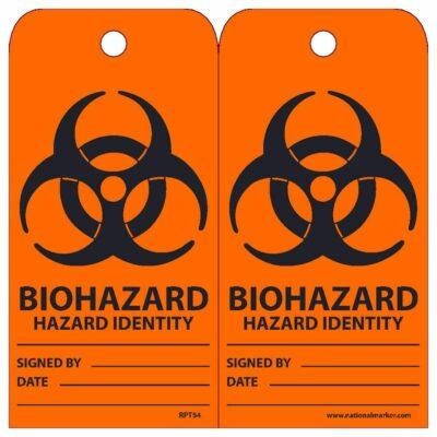 "Biohazard – Hazard Identity Tags, 6"" x 3"", Unrippable Vinyl, 25-Pack"