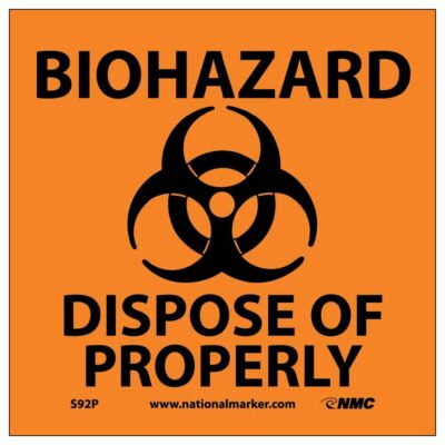 """BIOHAZARD DISPOSE OF PROPERLY SIGN (W/GRAPHIC), 7"""" X 7"""""""