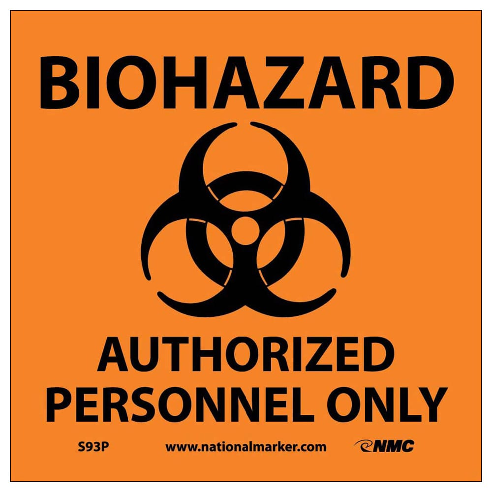 "BIOHAZARD AUTHORIZED PERSONNEL ONLY (W/GRAPHIC), 7"" X 7"""
