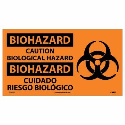 BIOHAZARD, CAUTION BIOLOGICAL HAZARD (BILINGUAL W/GRAPHIC), 10X18