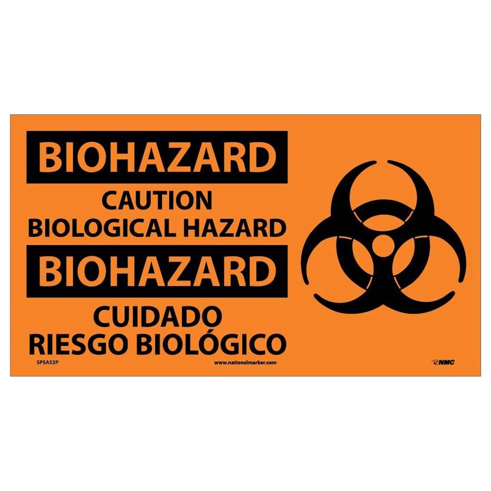 BIOHAZARD, CAUTION BIOLOGICAL HAZARD (BILINGUAL W/GRAPHIC), 10X18