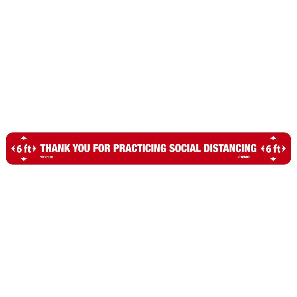 """Thank You Social Distancing Floor Strip, White on Red, 2.25"""" x 20"""""""