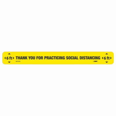 """Thank You Social Distancing Floor Strip, Black on Yellow, 2.25"""" x 20"""""""