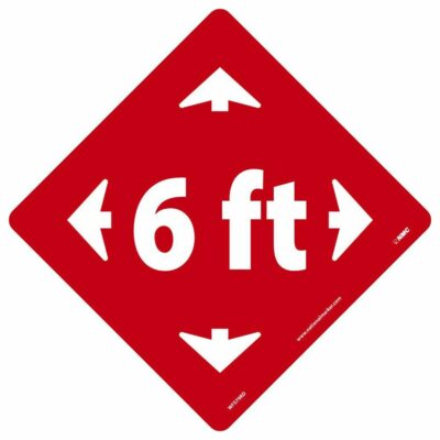 """6 FT Arrow Walk On Floor Sign, Red on White, 8"""" x 8"""""""