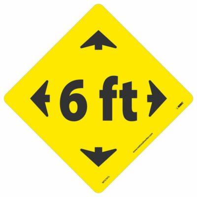 "6 FT Arrow Walk On Floor Sign, Black on Yellow, 8"" x 8"""