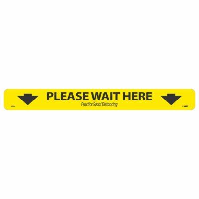 "Please Wait Here Shopping Cart Floor Strip, Black on Yellow, 2.25"" x 20"""