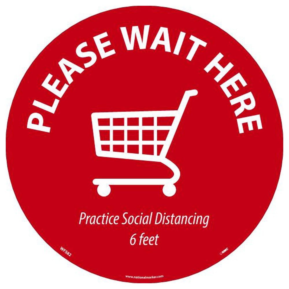 """Please Wait Here Shipping Cart Walk On Floor Sign, Red on White, 8"""" x 8"""""""