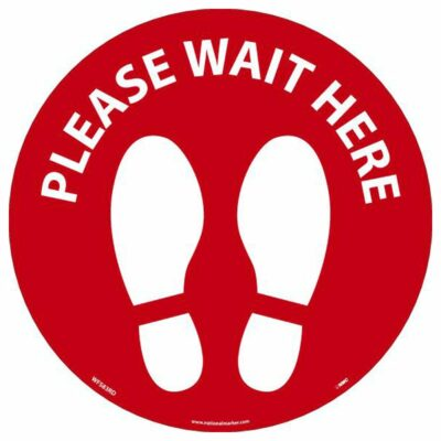 """Please Wait Here Footprint Walk On Floor Sign, Red on White, 8"""" x 8"""""""