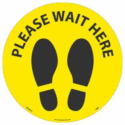 "Please Wait Here Footprint Walk On Floor Sign, Black on Yellow, 8"" x 8"""