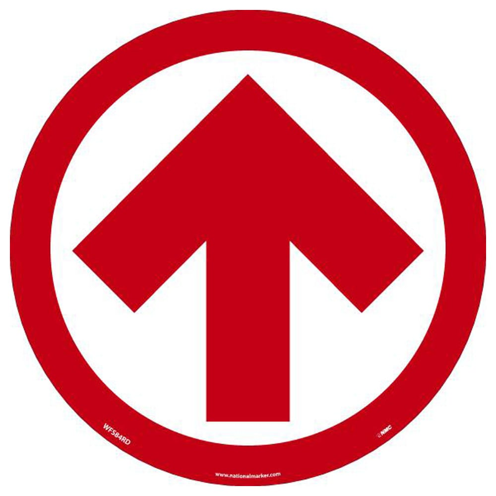 """Arrow Graphic Walk On Floor Sign, Red on White, 8"""" x 8"""""""
