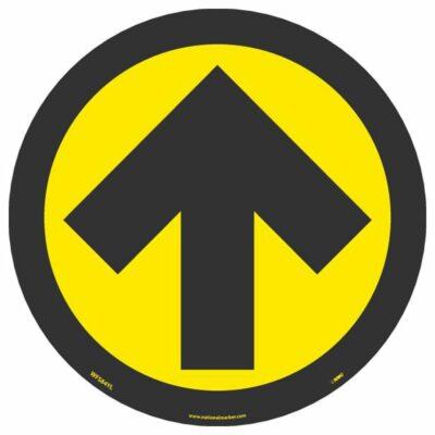 "Arrow Graphic Walk On Floor Sign, Black on Yellow, 8"" x 8"""
