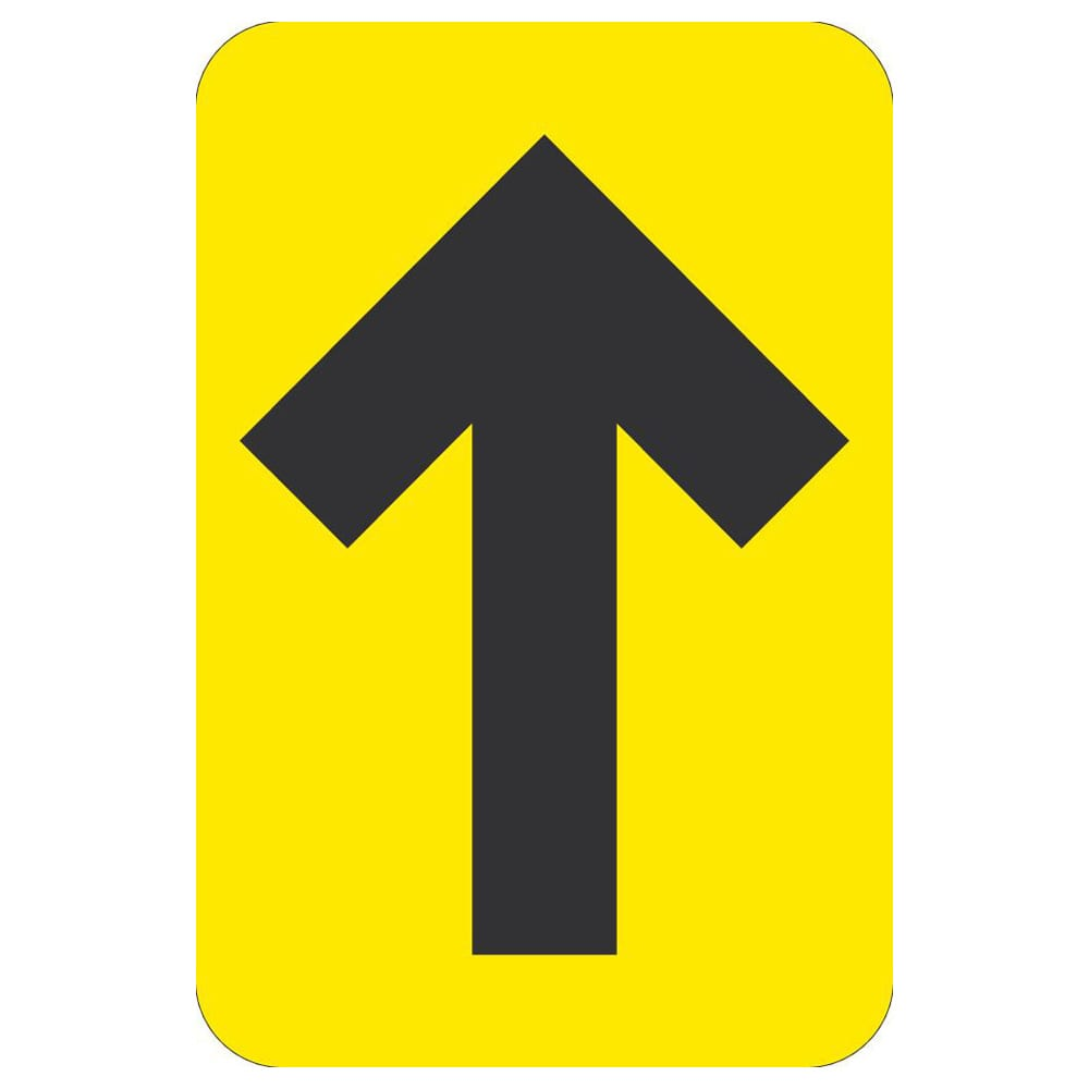"DIRECTIONAL ARROW FLOOR GRAPHIC, BLACK/YELLOW, 6"" x 4"""